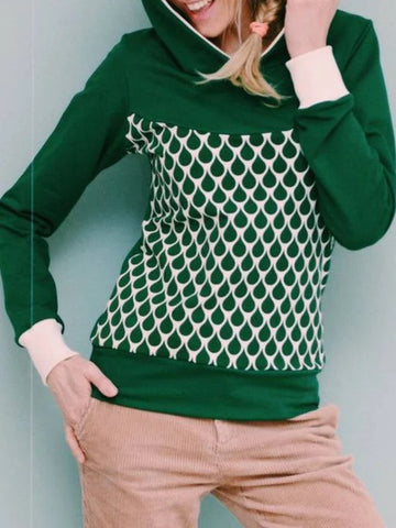 Green Hoodie Casual Plus Size Sweatshirt
