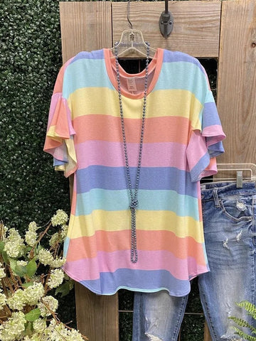Women's Cotton Rainbow Striped Short Sleeve Casual Shirts & Tops