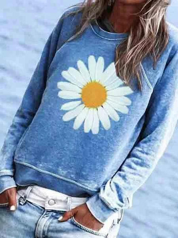 Women Sunflower Printed Cotton-Blend Crew Neck Casual Top & Sweatshirt