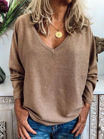 Women's Casual Solid Color V Neck Long Sleeve Sweater