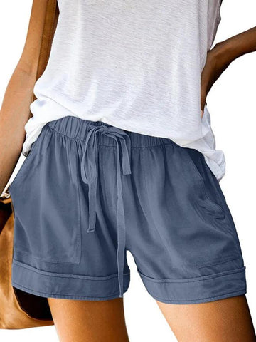 Women's Pockets Plain Casual Pants Shorts