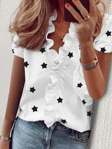 Star Printed Ruffle Tops Office Lady 2020 Summer Blouses Sexy V Neck Shirts