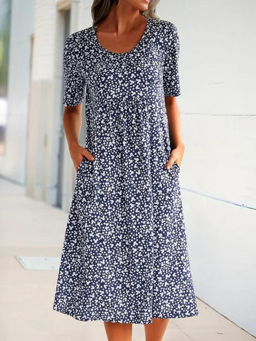 Summer Floral Pockets Midi Dress