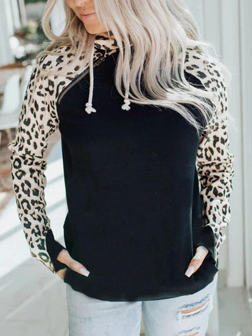 Women's Leopard Cotton-Blend Casual Hoodie Sweatshirt