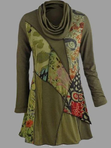 Women's Printed Army Green Long Sleeve Cowl Neck Shirts & Tops