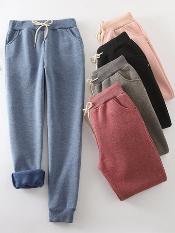 Cotton Casual Elastic Solid Casual Warm Pants