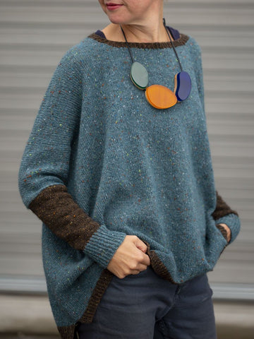 Casual Knitted Plain Round Neck Vintage Sweater