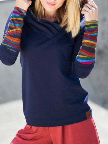 Hoodie Casual Long Sleeve Color-Block Sweatshirt