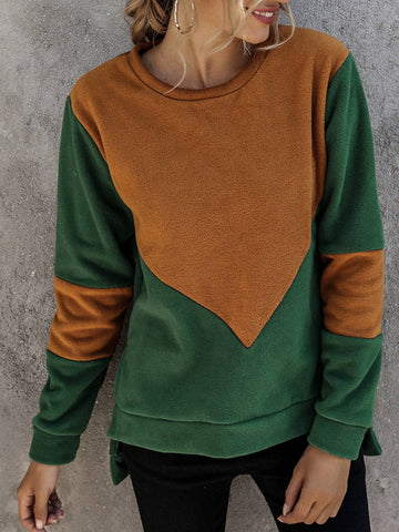 Women Patchwork Long Sleeve Casual Paneled Sweatshirt