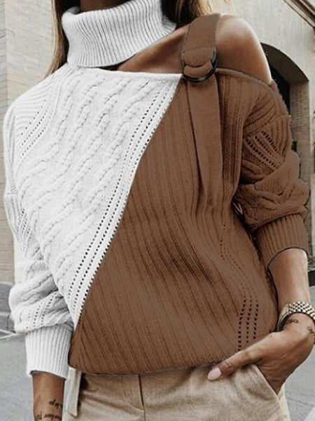 Fashionable sexy strapless turtleneck sweater