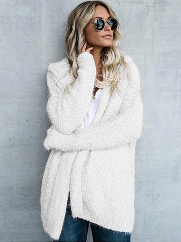 Women Winter Casual Hooded Knitted Sweater Cardigan Coat