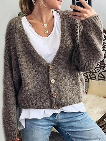 Women's Simple V-neck Solid Color Single Row Button Long Sleeve Cardigan