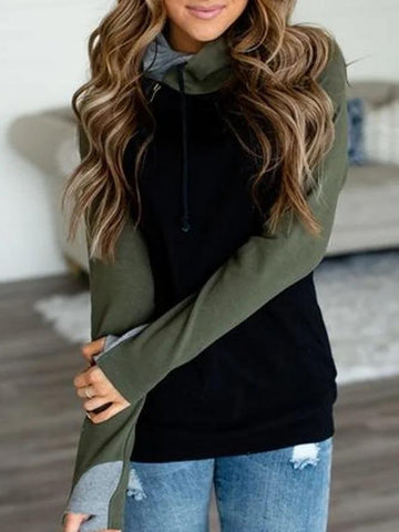 Women's Black Long Sleeve Patchwork Casual Sweatshirt & Hoodies