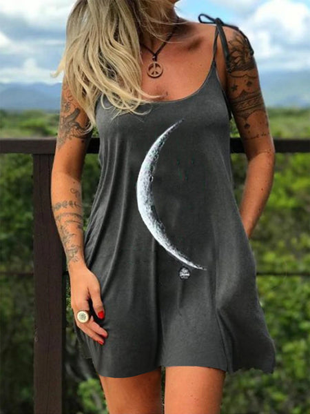 Gray Cotton-Blend Spaghetti-Strap Dresses