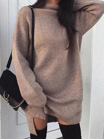 High Neck  Plain  Batwing Sleeve Sweaters