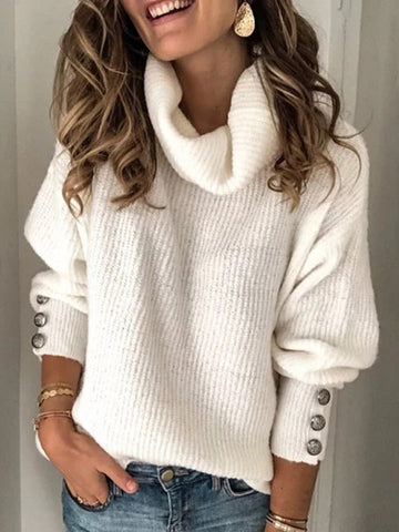 Women's Plus Size Solid Plain Casual Sweater