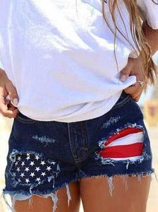 American Flag Ripped Denim Shorts