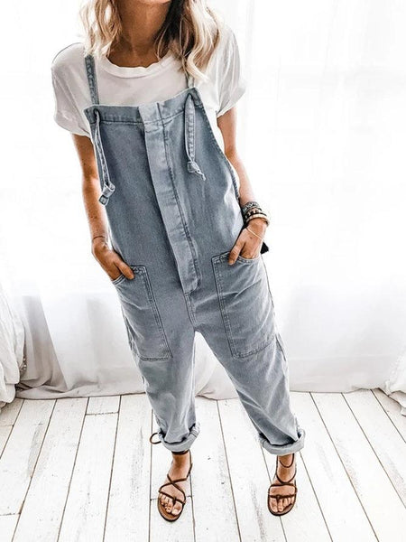 Gray Casual Solid Shift Denim Jumpsuit