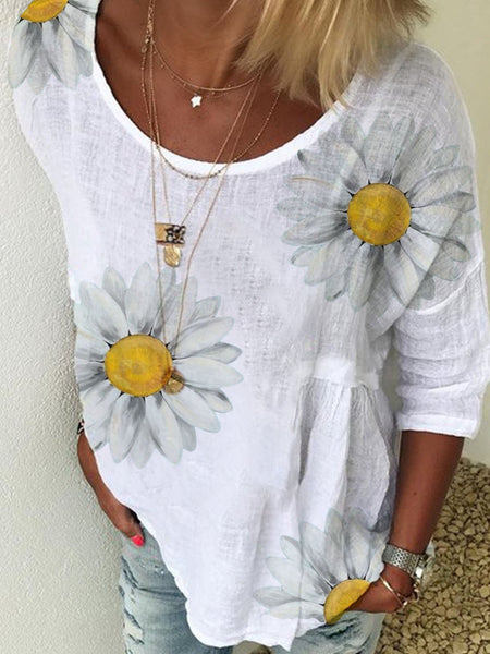 Women Flower Printed Short Sleeve Cotton-Blend Casual Tops
