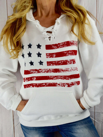 4th Of July  American Flag Lace up Hoodie