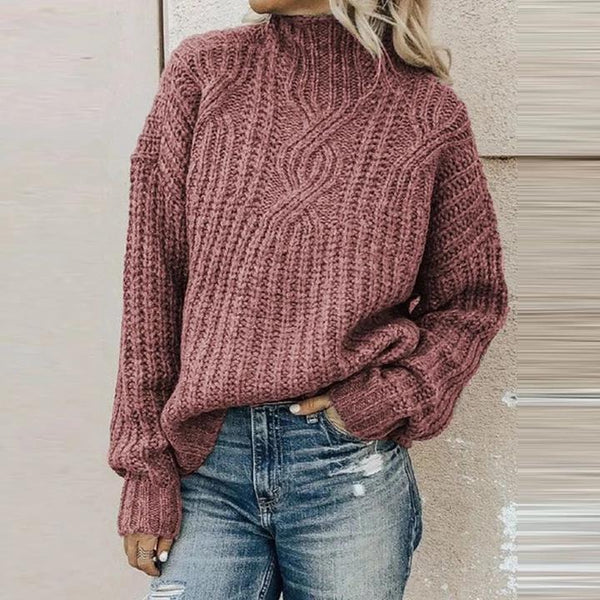 Leisure Pure Color High Neck Long Sleeve Sweater