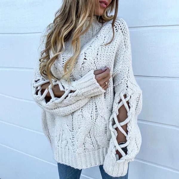 Casual Pure Color Lave-up Sweater