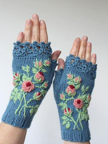 Women Vintage Green Gloves & Mittens