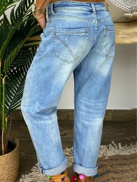 Blue Casual Denim Solid Pants