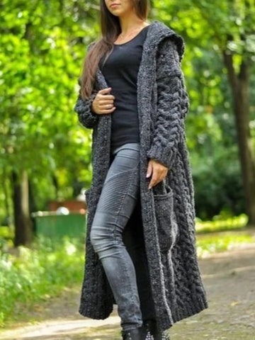 Women pockets and a hood cardigan coat handmade work pretty model for women
