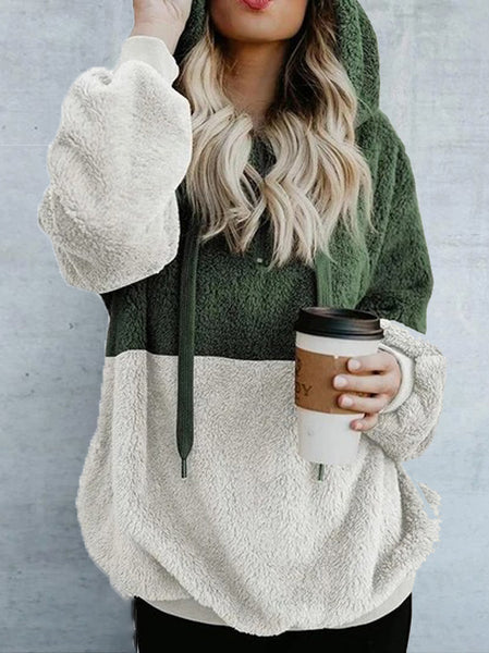 Casual Hooded Colouring Loose Sweatshirt