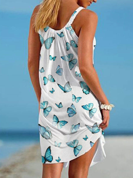 Women Summer Butterfly Print Beach Dress