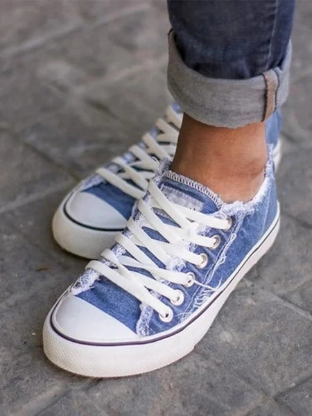 Canvas Flat Heel Casual Sneakers