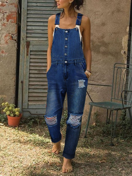Sleeveless Denim  ripped One-Pieces