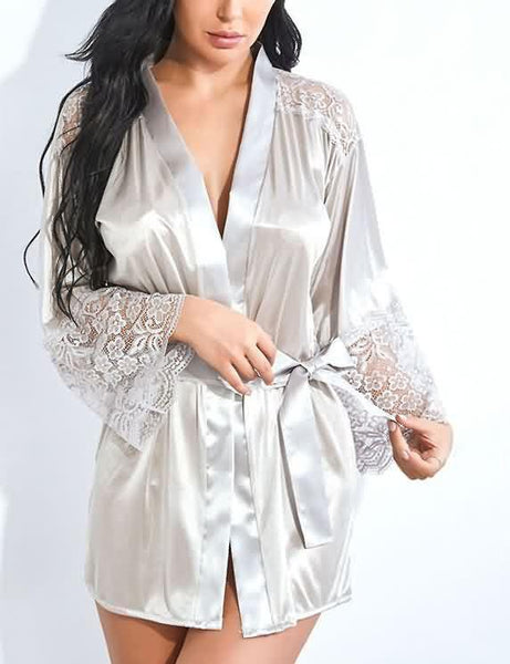 Lace Patchwork Lingerie Robe With Belt