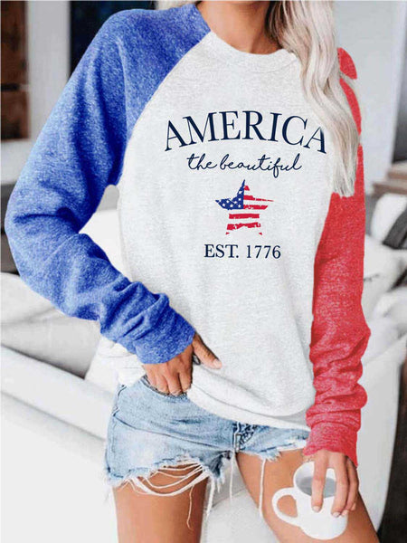 Women's America The Beautiful EST. 1776 Flag Print Star Top