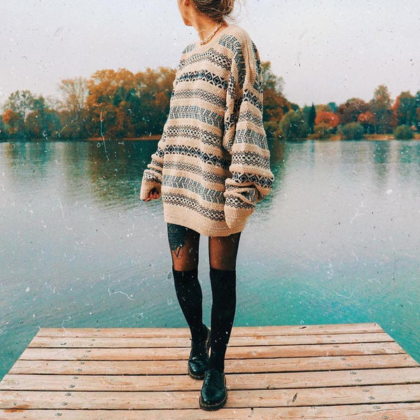 Bohemian Floral Casual Knit Sweater