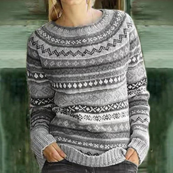 Solid Color Printed Round Collar Knitted Sweater