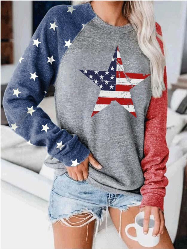 American Flag Star Print Colorblock Top