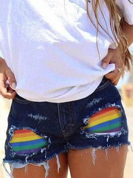Women's Rainbow Print Ripped Denim Shorts
