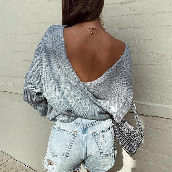 Long Sleeve Sweater Bat Sleeve Cross V-neck Knit Top