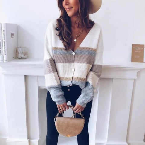 Knitted casual cardigan with cross stripes long sleeve women's top for autumn winter