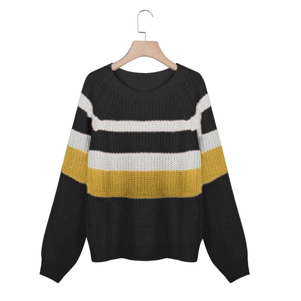 Casual Loose Contrast Colour Striped Long Sleeves Sweater