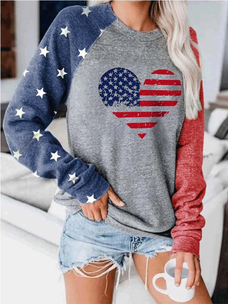 Heart American Flag Print Colorblock Sweatshirt