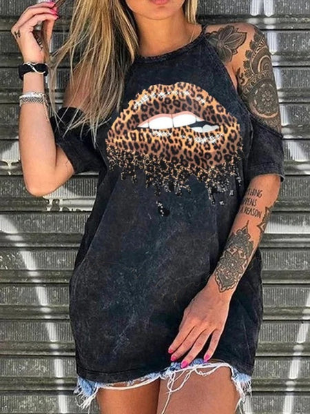 Black Lip Printed Cutout Short Sleeve Casual Shirt