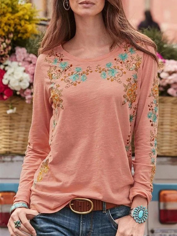 Slim round neck pullover fashion printed T-shirt
