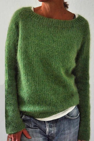 Solid Ribbed Crew Neck Casual Knitted Sweater