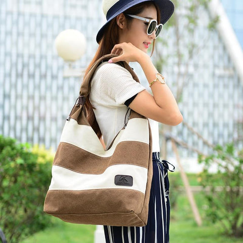 The Englander Striped Canvas Shoulder Bag