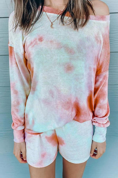 Tie-dye Long Sleeve Top & Shorts Two-piece Set