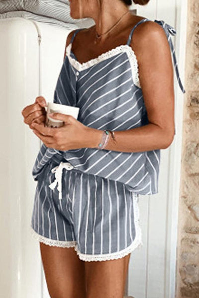 Striped Camisole & Shorts Two-piece Set