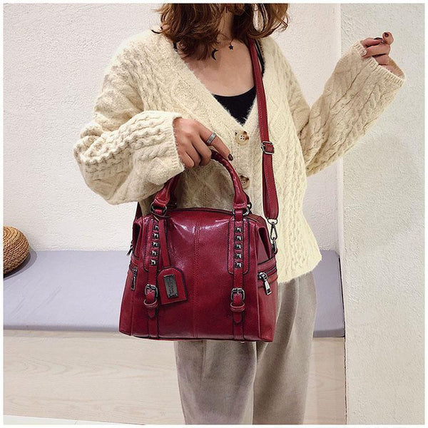 Women Retro Rivet Leather Handbag